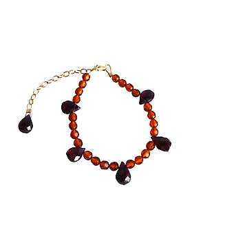 Gemshine - ladies - bracelet - amber - Garnet - gold plated - orange - yellow - red - gold