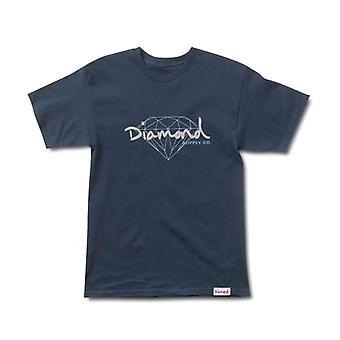 Marina de guerra camiseta brillante guión de diamante fuente de Co