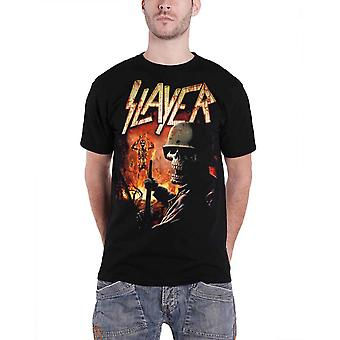 Slayer T Shirt Soldier Skull Burning Torch Band Logo Official Mens New Black
