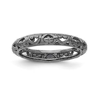 3,5 mm rutenio Plata galjanoplastia anillo tallado apilable expresiones negro-plateado - tamaño del anillo: 5 a 10