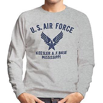 US Airforce Keesler AF Base Mississippi Navy Blue Text Men's Sweatshirt