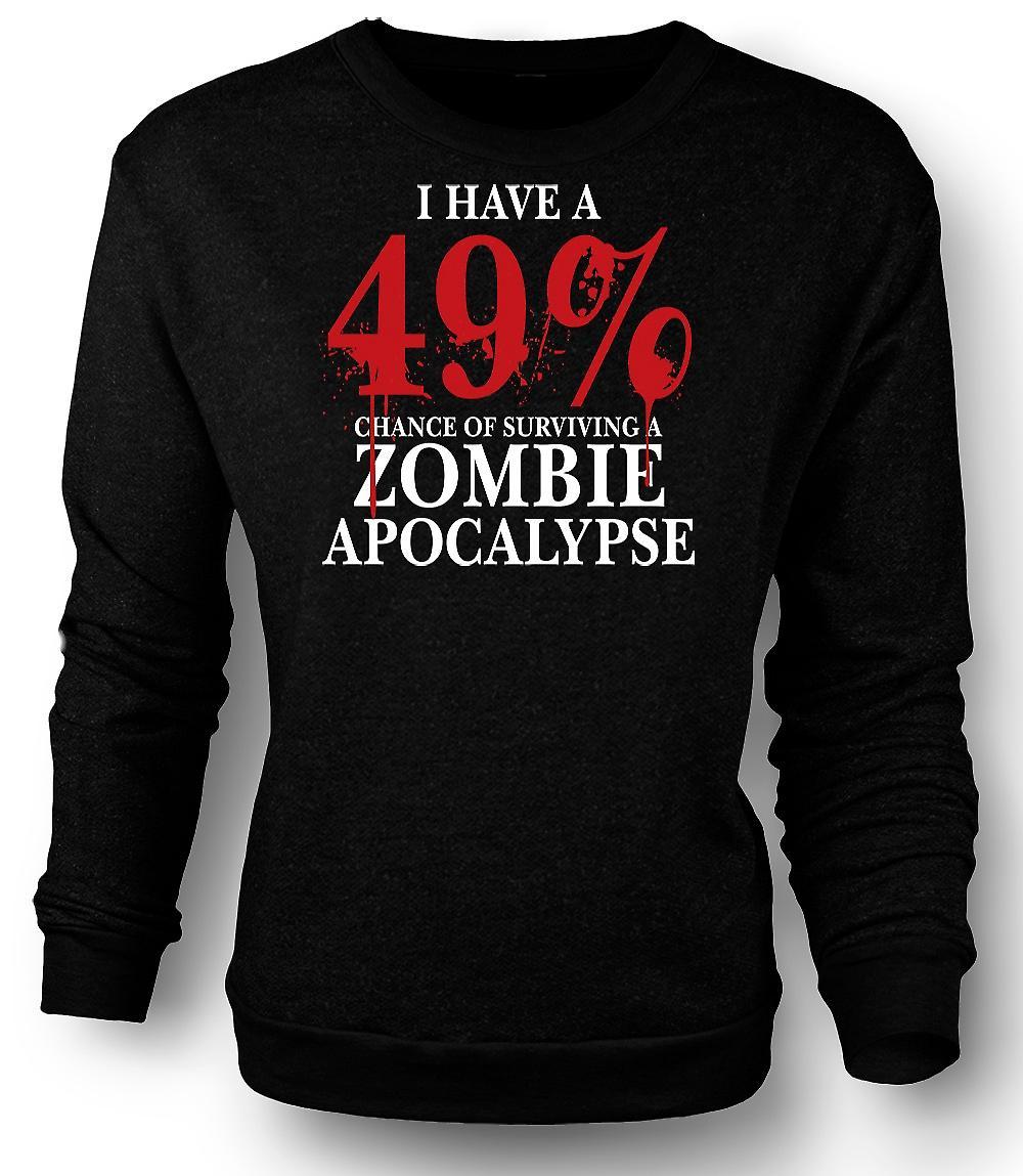 Mens Sweatshirt Zombie Apocalypse 49% - Horror Funny