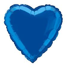 Foil Balloon Heart Solid Metallic Royal Blue