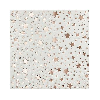 Rose Gold Foiled Star Design Cocktail Napkins x 20 Christmas Wedding Party