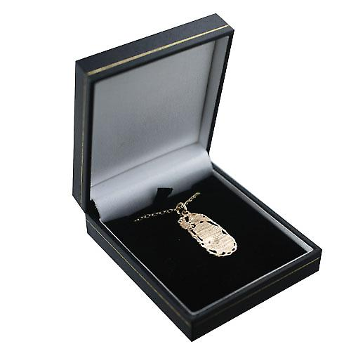 9ct Gold 33x17mm Leo Zodiac Pendant with a belcher Chain 16 inches Only Suitable for Children