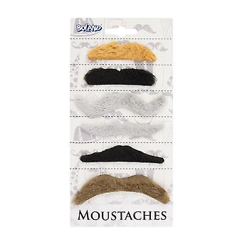 Pack of 6 Coloured Moustaches - Natural Fancy Dress Accessory