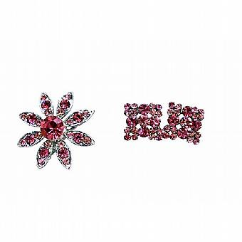 Rose Pink Crystals Round Brooch With Matching Earrings Perfect For Dress/Ear Matching New Combo