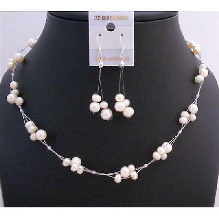 Ivory Freshwater Pearl Choker Set Bridemaides Interwoven Wire Necklace Set Beautiful Dangling Earrings