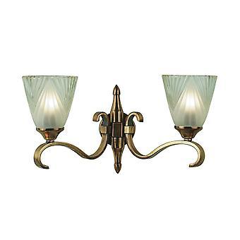 Doble Columbia luz lámpara de pared de latón con cortinas de cristal Deco - interiores 63451 1900