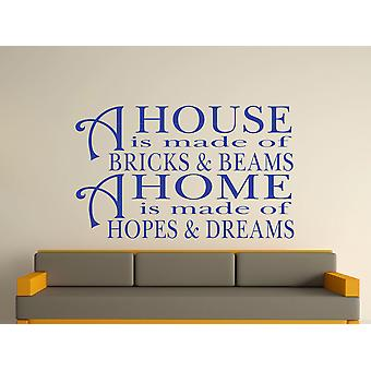 A House Is Made Of Bricks And Beams v2 Wall Art Sticker - Brilliant Blue