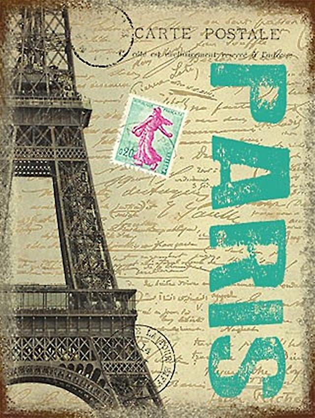 Paris Eiffel Tower small metal sign   (og 2015)