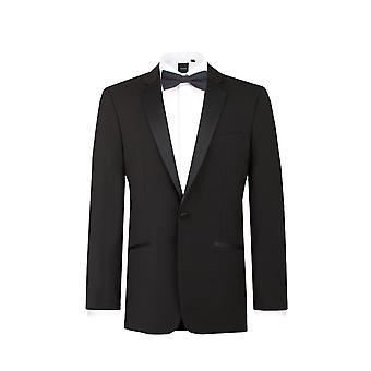 Dobell Mens Black Tuxedo Dinner Jacket Regular Fit 100% Wool Notch Lapel