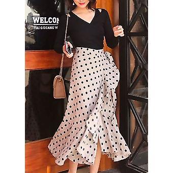 Polka Dot And Check Print Wrap Ruffle Midi Skirt Beige