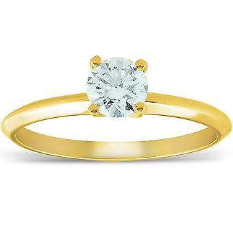 14k Yellow Gold 5/8 ct Round Solitaire Diamond Engagement Ring