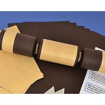 8 Brown & Kraft Paper Make & Fill Your Own Party Crackers - Craft Kit