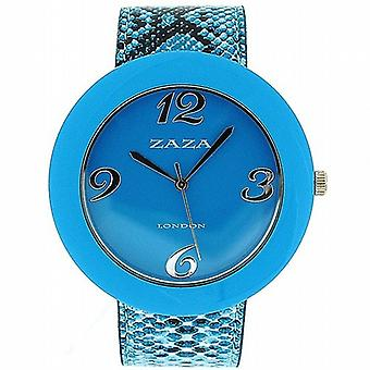 Zaza Londra coccodrillo cinturino in Pu blu effetto & Dial Ladies Fashion Watch LLB855