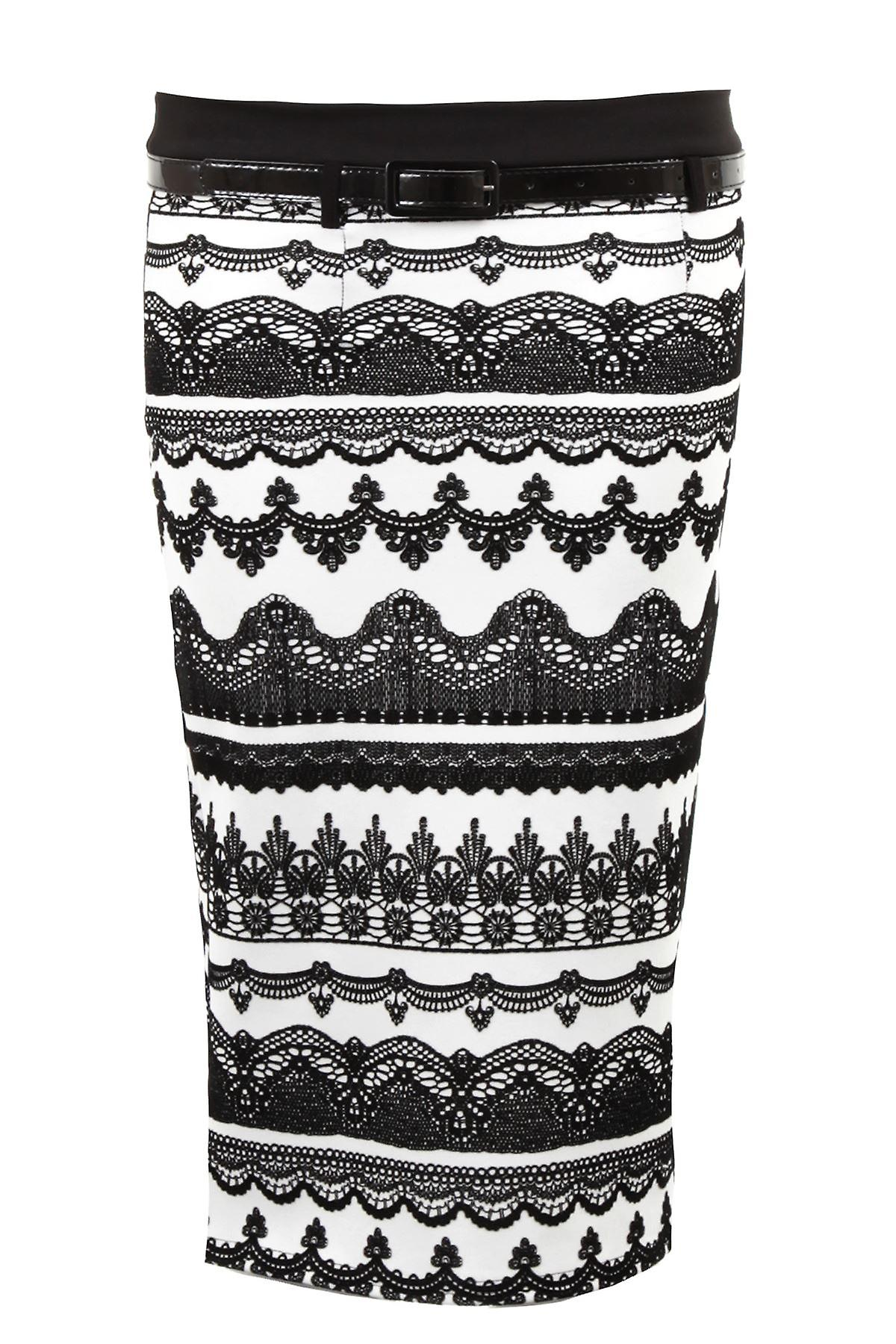 Ladies Flock Aztec Print Belted Pleated Black White Pencil Formal Women's Skirt