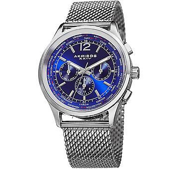 Akribos XXIV Men's AK716 Multifunction Day Date Stainless Steel Mesh Watch AK716SSBU