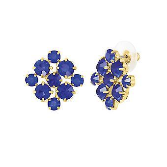 Evige samling Joyeux Sapphire Blue Crystal guld Tone Stud gennemboret øreringe