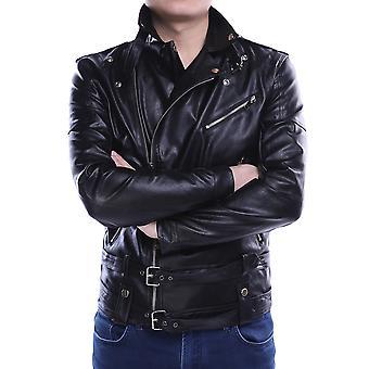 Allthemen's Leather Coat Classic Lapel Zipper Punk Veste en cuir