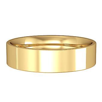 Jewelco London 9ct Yellow Gold - 5mm Essential Flat-Court Band Commitment / Wedding Ring