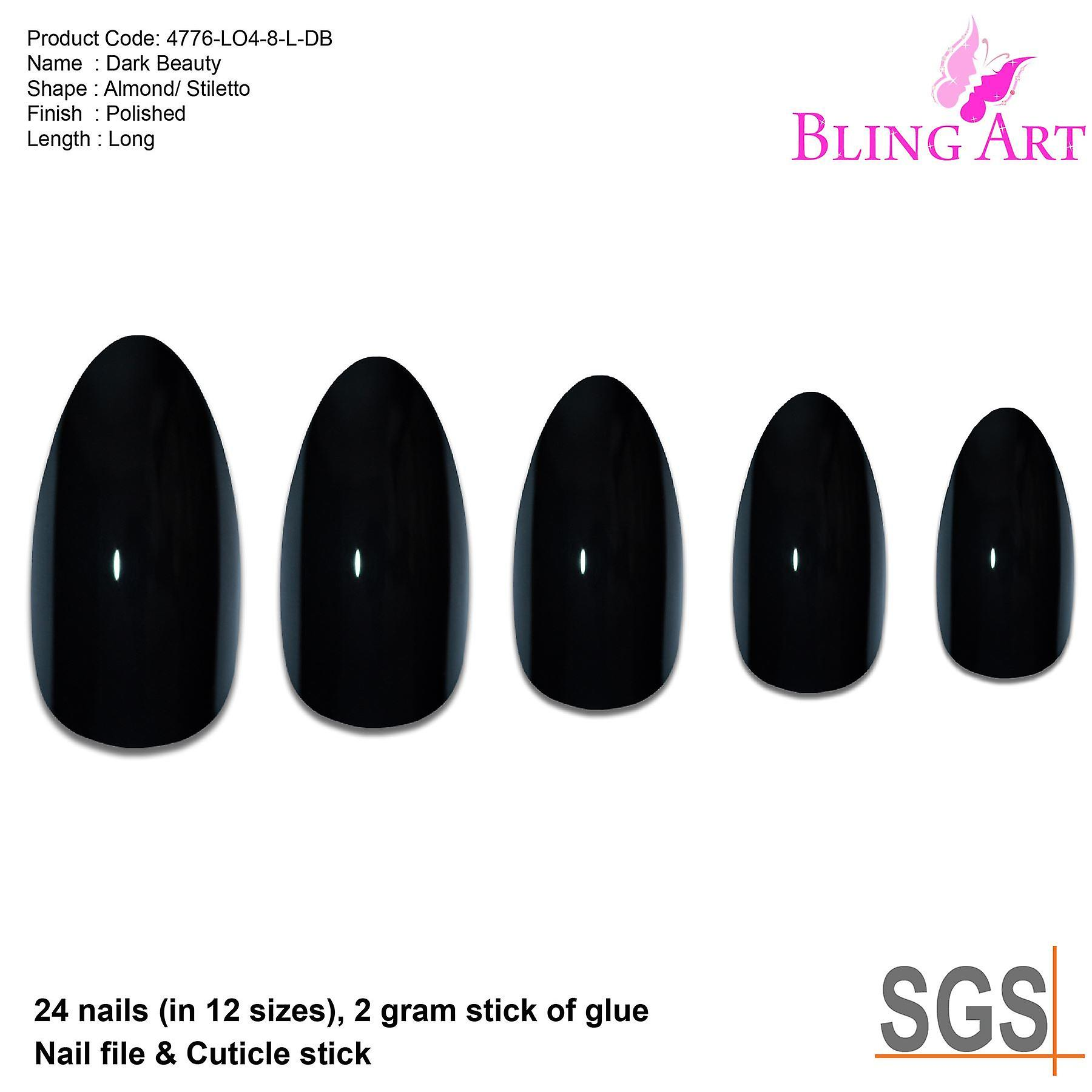 False nails bling art black polished almond stiletto long fake acrylic tips glue
