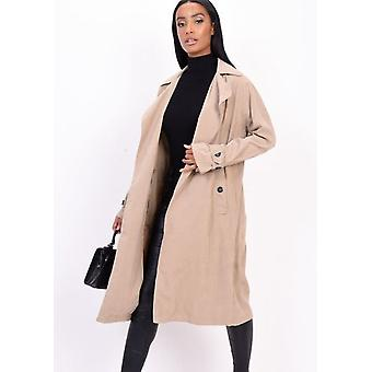 Light Weighted Longline Trench Coat Beige