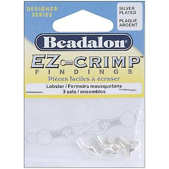 Ez Crimp Lobster Clasps 3 Pkg Silver Plated 315B110