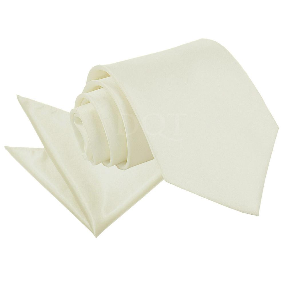 Plain Ivory Satin Tie 2 pc. Set