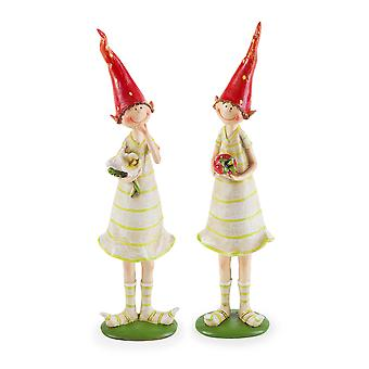 Set of Two Standing Strawberry Pixies Polyresin Garden Fairy Ornament Figurines