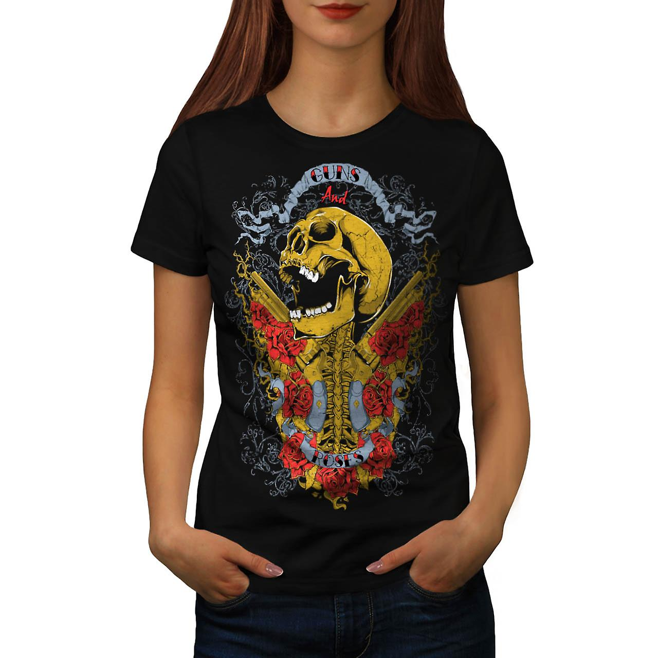 Guns And Roses Skull Music Hero Women Black T-shirt | Wellcoda