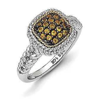 Sterling sølv med 14k og svart Rhodium Citrin Ring - Ring størrelse: 6-7