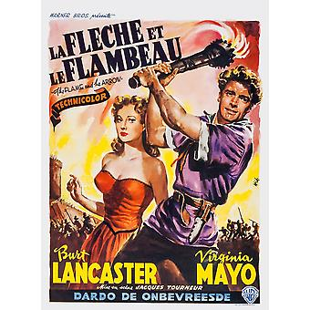 The Flame And The Arrow L-R Virginia Mayo Burt Lancaster On Belgian Poster Art 1950 Movie Poster Masterprint