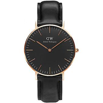 Se Daniel Wellington Sheffield DW00100139 - analog blandet sort læder