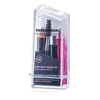 Tweezerman Mini Brow Rescue Kit: Slant Tweezer + Browmousse + Brow Brush + Eyenhance Brow Highlighter (Studio Collection) - 4pcs+1case