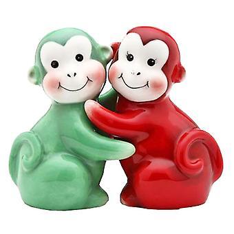 Røde og grønne abe chimpanse Ape Salt peber Shakers sæt