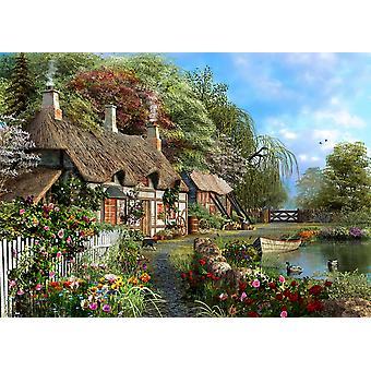 Riverside hjem i bloom plakat Print af Dominic Davidson