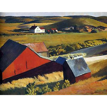 Edward Hopper - Cobb's Barns and Distant Houses Poster Print Giclee