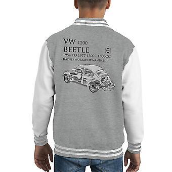 Haynes Workshop Manual 0039 VW 1200 Beetle Black Kid's Varsity Jacket