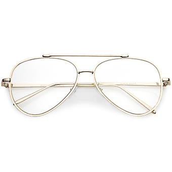 Mod Fashion Metal Aviator Eyeglasses Teardrop Rimless Clear Flat Lens 58mm