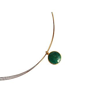 Green Emerald chain necklace gold plated emerald green gemstone necklace