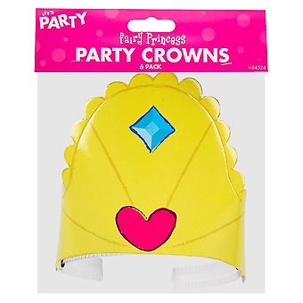 6 Pack Of Children's Girls Fairy Princess Birthday Party Crown