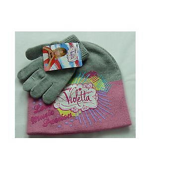 Girls Disney Violetta Winter Beanie Hat & Gloves Set