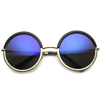 Womens Round Sunglasses With UV400 Protected Mirrored Lens