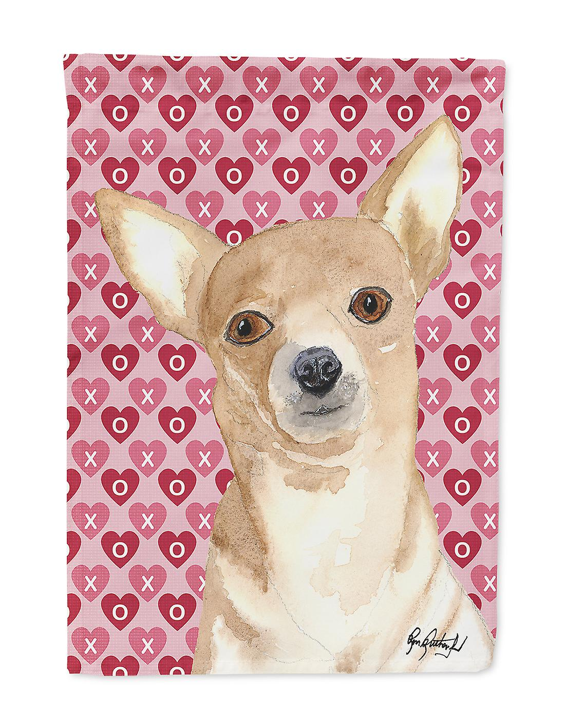 Carolines Treasures  RDR3014-FLAG-PARENT Chihuahua Love and Hearts Flag RDR3014G
