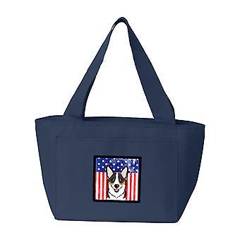 Carolines tesori BB2185NA-8808 bandiera americana e Corgi Tricolor Lunch Bag