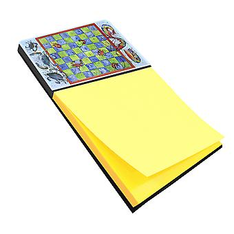 Crab and Shrimp Checkerboard Refiillable Sticky Note Holder or Postit Note Dispe