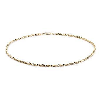 10k amarillo oro diamante luz Extra sólido corta cuerda pulsera y tobillera, 2,25 mm