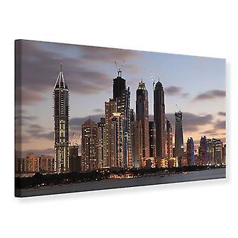 Lærred Print Skyline Dubai ved solnedgang