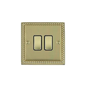 Hamilton Litestat Cheriton Georgian Polished Brass 2g 10AX 2 Way Rkr PB/BL